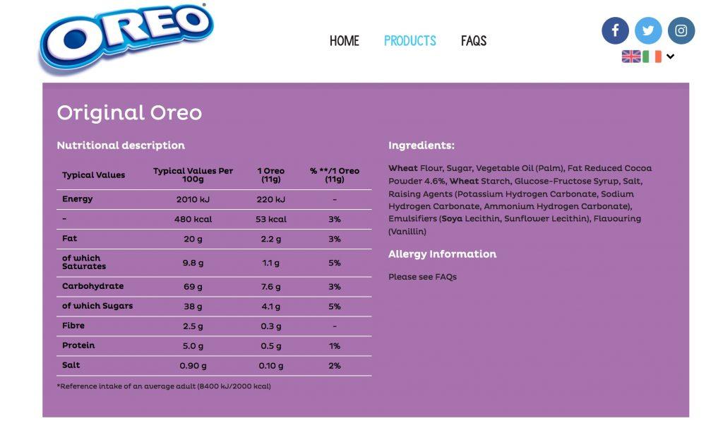Oreos Nutrition